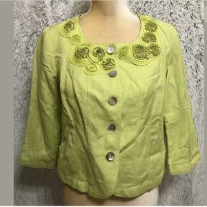 RUBY RD Women's Petite Jacket Cardigan Green